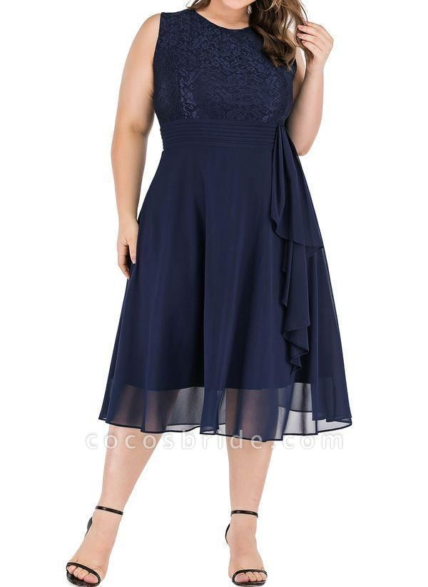 Dark Blue Plus Size Solid Round Neckline Casual Midi X-line Dress Plus Dress