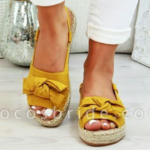 Women's Slingbacks Cloth Flat Heel Sandals Platforms