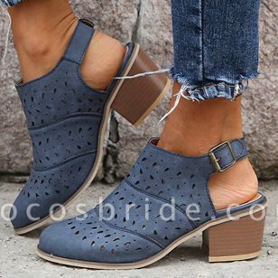 Women's Buckle Hollow-out Closed Toe Heels Chunky Heel Sandals