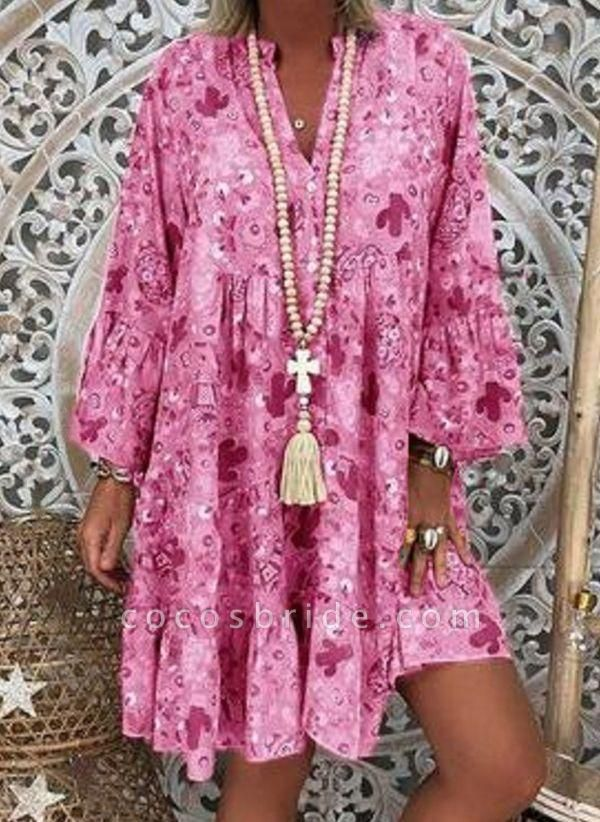 Pink Plus Size Tunic Floral V-Neckline Casual Above Knee Plus Dress