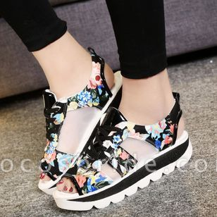 Women's Lace-up Hollow-out Flower Peep Toe Slingbacks Wedge Heel Sandals