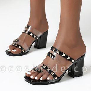 Women's Rivet Peep Toe Slingbacks Chunky Heel Sandals