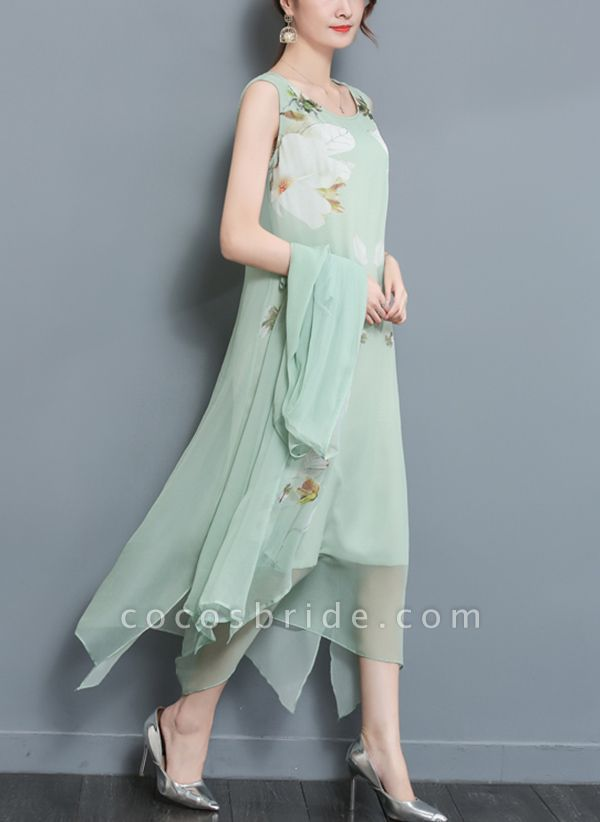 Floral Wrap Round Neckline Maxi A-line Dress