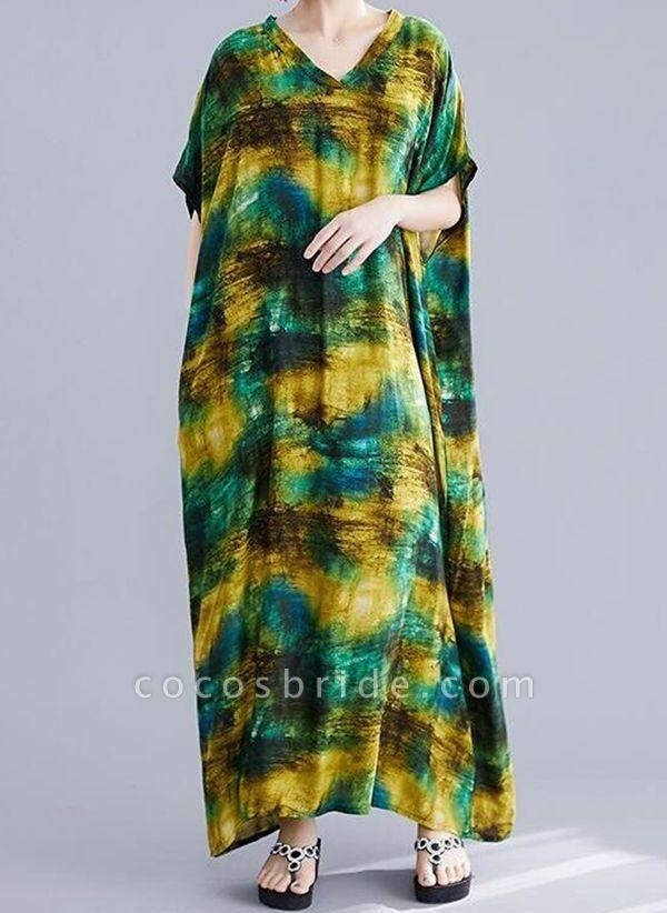 Green Plus Size Tunic Color Block V-Neckline Casual Maxi Plus Dress