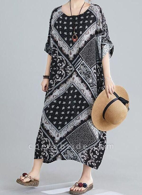 Black Plus Size Tunic Geometric Round Neckline Casual Maxi Plus Dress