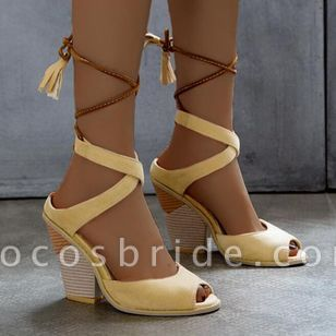 Women's Lace-up Tassel Slingbacks Nubuck Chunky Heel Sandals