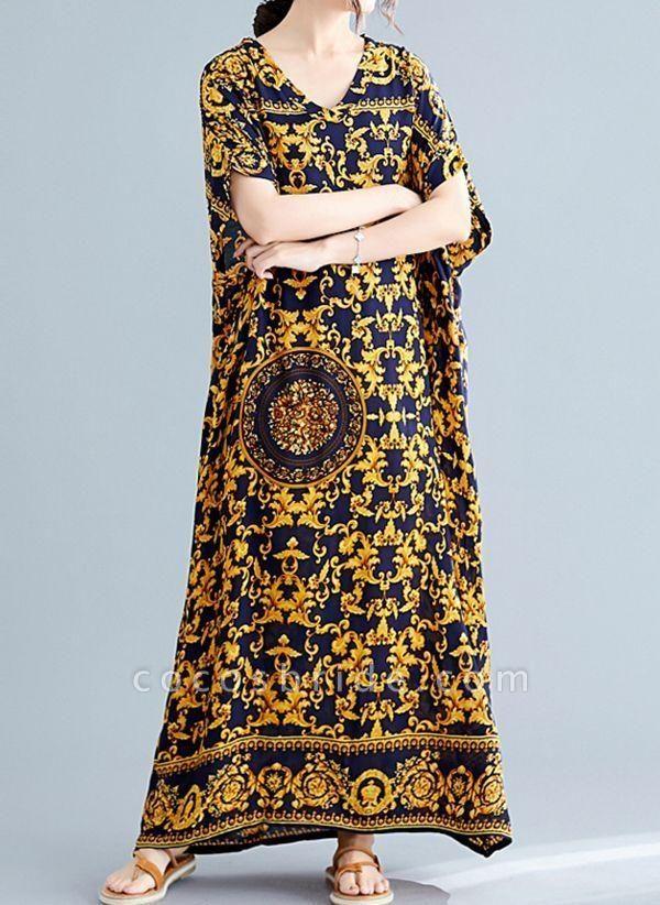 Gold Plus Size Tunic Color Block V-Neckline Casual Maxi Plus Dress