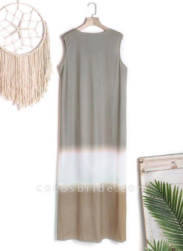 Gray Casual Color Block Tunic V-Neckline Shift Dress