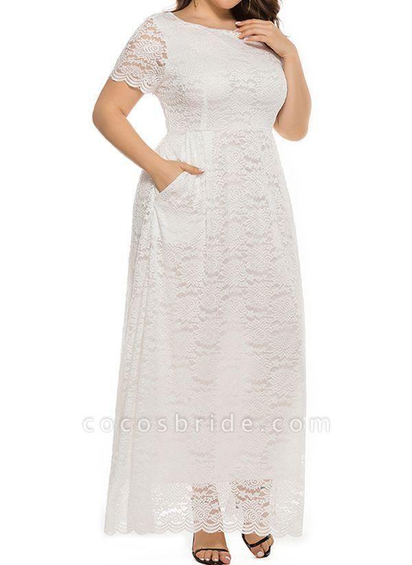 Off-white Plus Size Solid Round Neckline Casual Lace Pockets Maxi Plus Dress