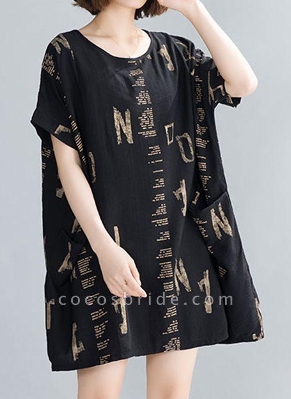 Black Plus Size Tunic Geometric Round Neckline Casual Pockets Plus Dress