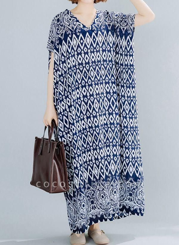 Dark Blue Plus Size Tunic Geometric V-Neckline Casual Maxi Plus Dress