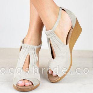 Women's Buckle Peep Toe Wedge Heel Sandals