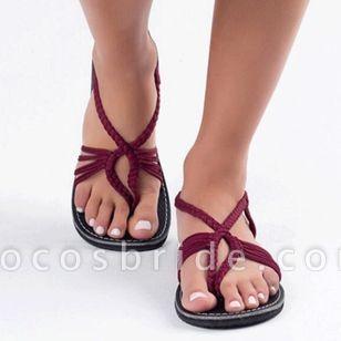 Women's Braided Strap Flip-Flops Cloth Flat Heel Sandals