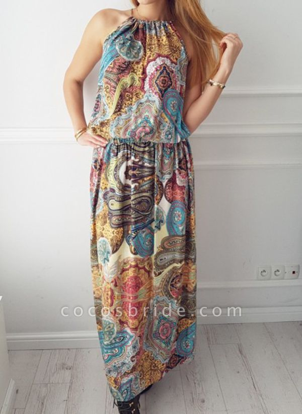 Casual Geometric Round Neckline Maxi X-line Dress