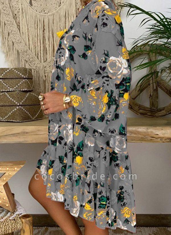 Rose Plus Size Tunic Floral V-Neckline Casual Buttons Plus Dress