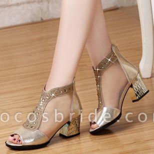 Women's Beading Zipper Heels Fabric Sparkling Glitter Chunky Heel Sandals