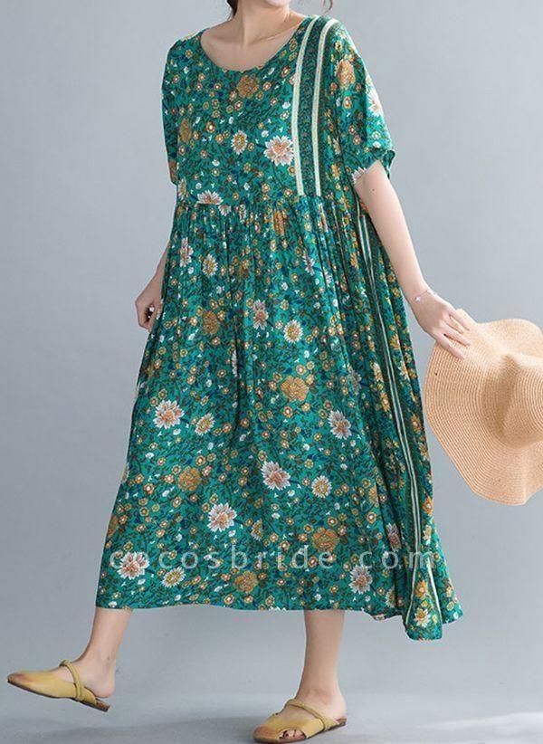 Plus Size Tunic Floral Round Neckline Casual Midi Plus Dress