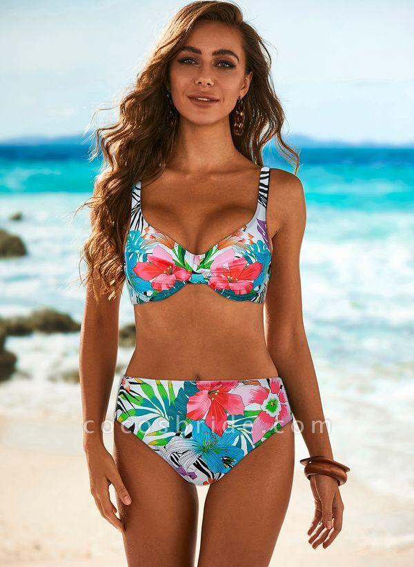 Polyester Floral Bikinis Swimwear