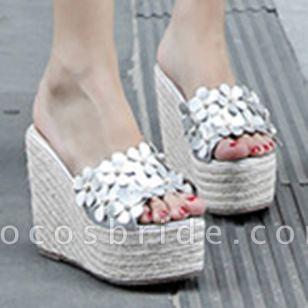 Women's Flower Peep Toe Wedge Heel Sandals