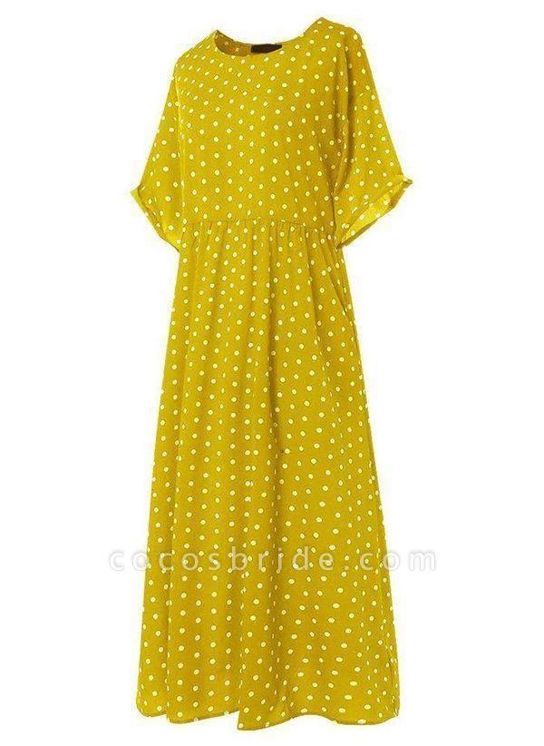 Yellow Plus Size Tunic Polka Dot Round Neckline Casual Midi Plus Dress