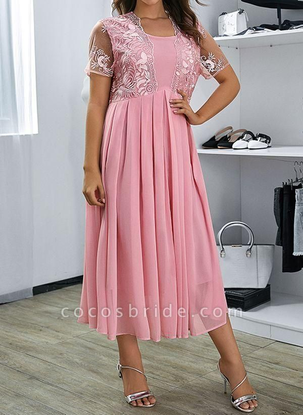 Pink Plus Size Floral V-Neckline Casual Ruffles Maxi Plus Dress