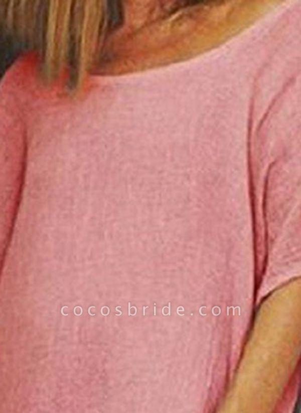 Watermelon Plus Size Tunic Solid Round Neckline Casual Knee-Length Plus Dress