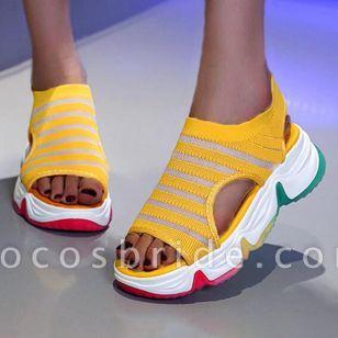 Women's Round Toe Fabric Flat Heel Sandals
