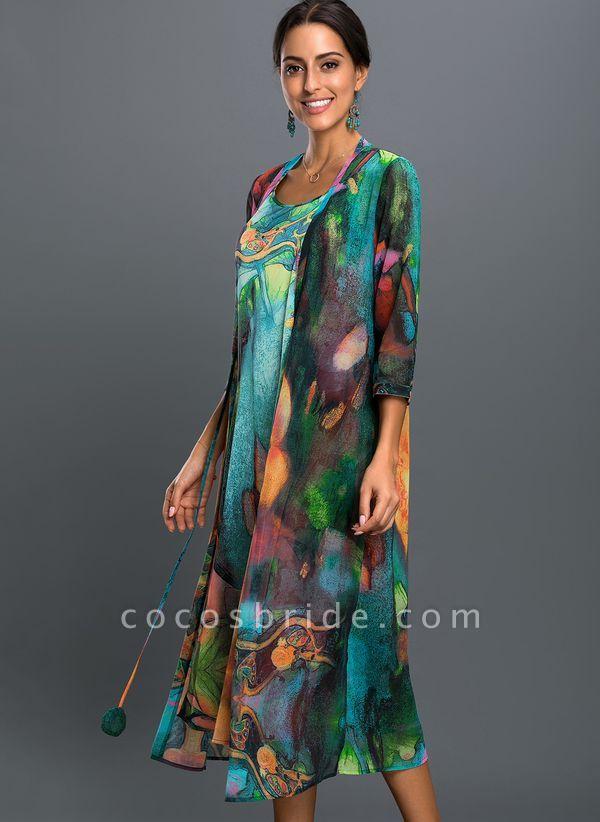 Arabian Floral Wrap Tunic A-line Dress