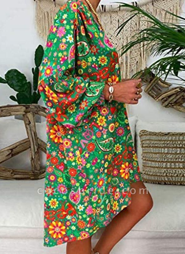 Plus Size Tunic Floral V-Neckline Casual Above Knee Plus Dress