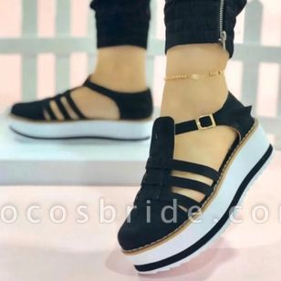 Women's Buckle Hollow-out Round Toe Flat Heel Sandals