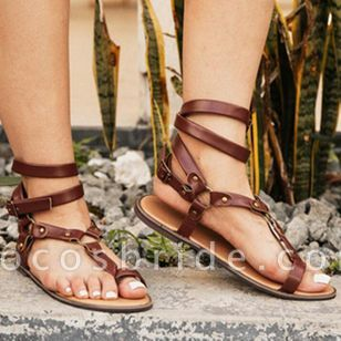 Women's Leopard Buckle Toe Ring Flat Heel Sandals