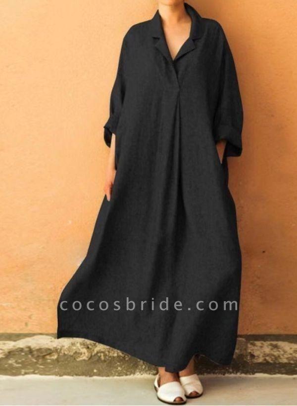 Black Plus Size Solid Collar Casual Maxi A-line Dress Plus Dress
