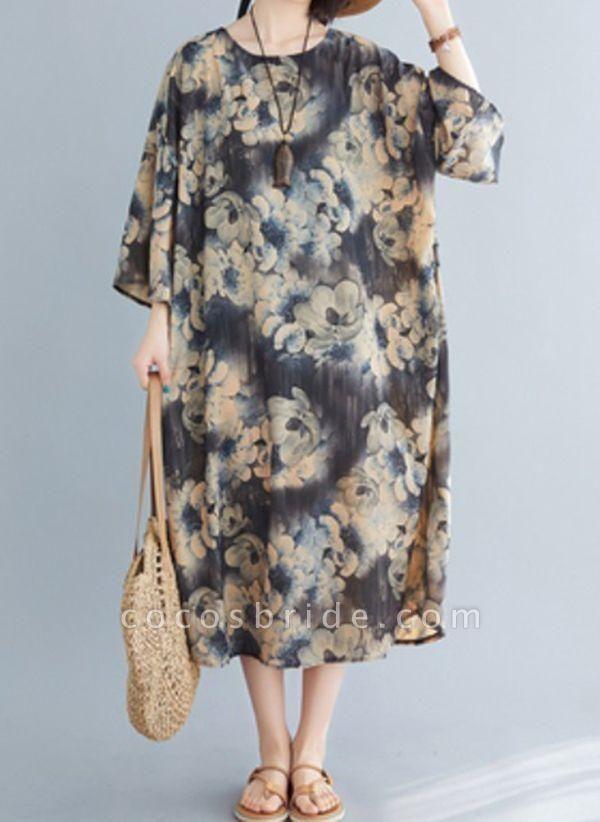 Dark Gray Plus Size Tunic Floral Round Neckline Casual Midi Plus Dress