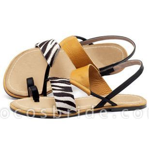 Women's Geometric Toe Ring Flat Heel Sandals
