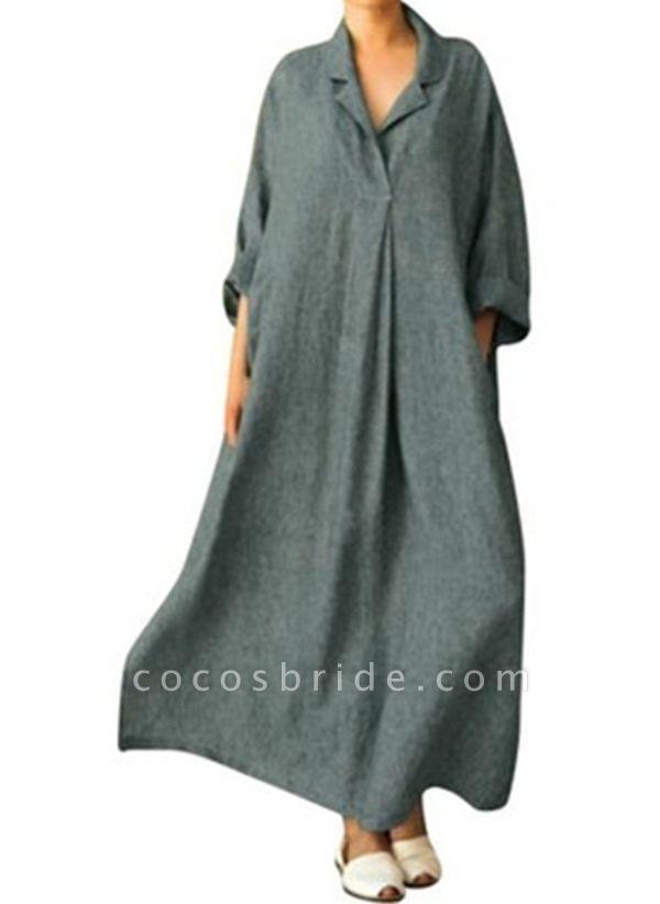 Gray Arabian Solid Tunic Collar Shift Dress