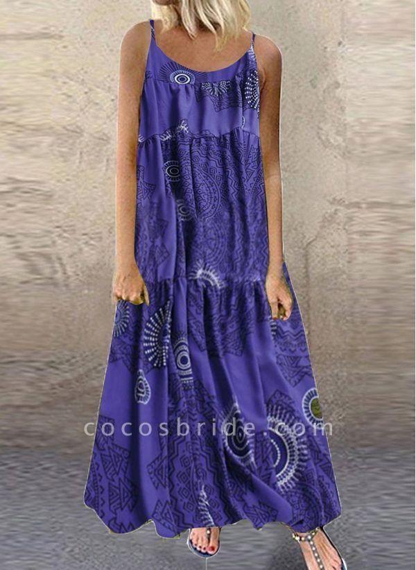 Blue Plus Size Tunic Color Block Camisole Neckline Casual Maxi Plus Dress