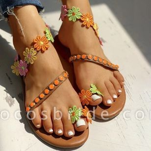 Women's Toe Ring Flat Heel Sandals