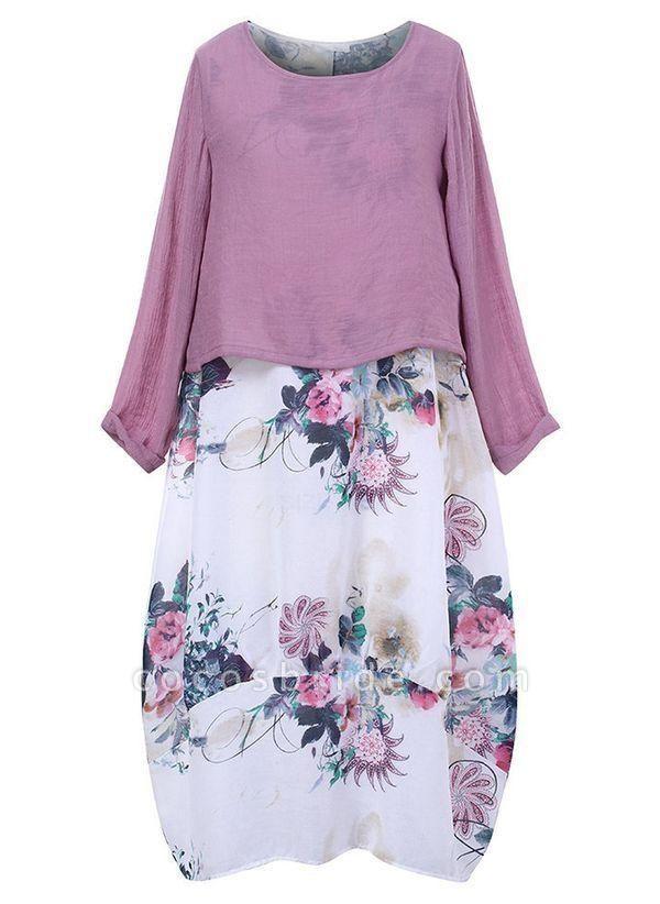 Purple Plus Size Floral Round Neckline Casual Maxi O Dress Plus Dress