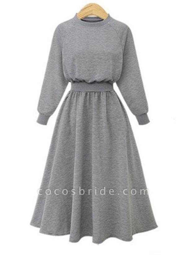 Gray Plus Size Solid Round Neckline Elegant Midi X-line Dress Plus Dress