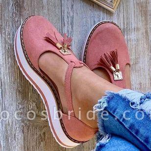 Women's Tassel Closed Toe Flat Heel Sandals