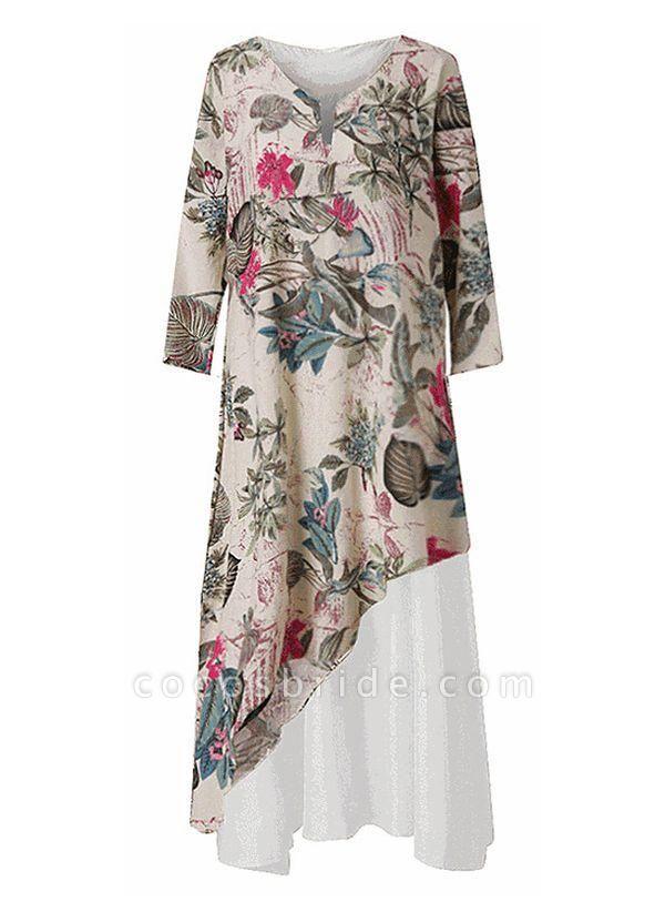 Off-white Plus Size Tunic Floral V-Neckline Casual Maxi Plus Dress