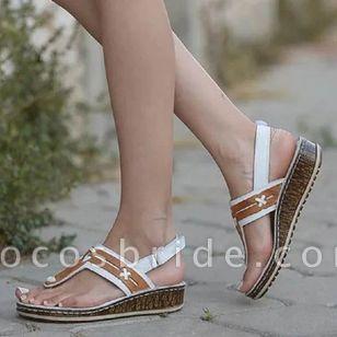 Women's Velcro Flip-Flops Wedge Heel Sandals