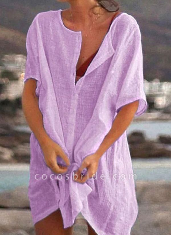 Lilac Plus Size Tunic Solid Round Neckline Casual Buttons Plus Dress