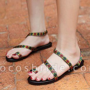 Women's Geometric Flats Toe Ring Flat Heel Sandals