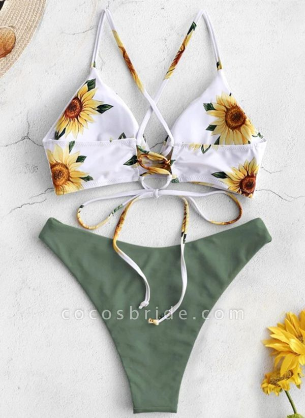 Polyester Knotted Floral Bikinis Swimwear