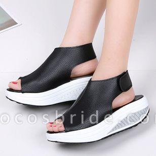 Women's Velcro Peep Toe Flat Heel Sandals