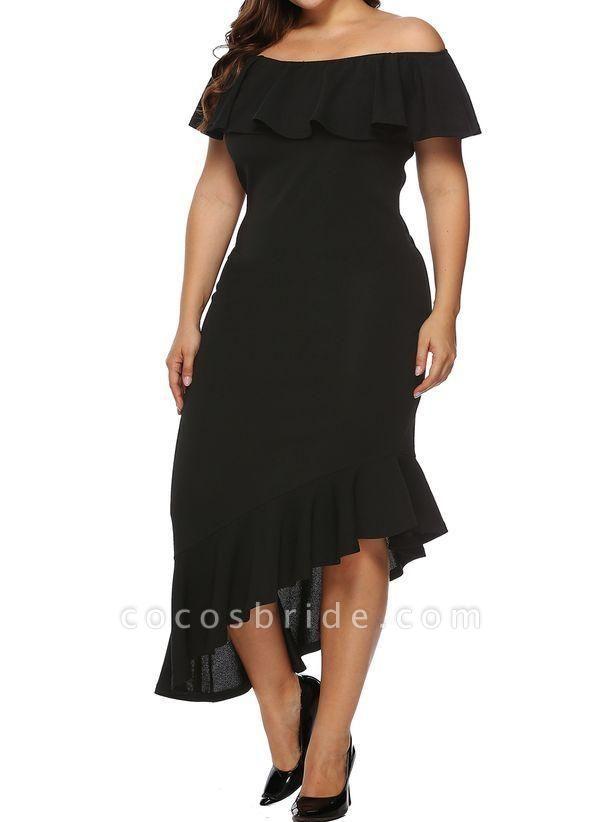 Black Plus Size Pencil Solid Off the Shoulder Elegant Ruffles Plus Dress