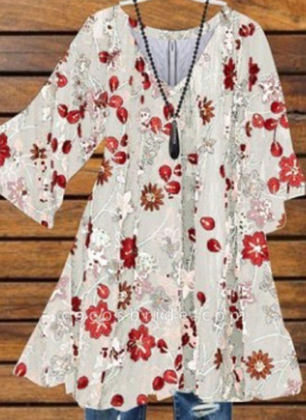 White Plus Size Floral V-Neckline Casual Above Knee X-line Dress Plus Dress