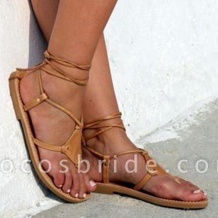 Women's Lace-up Flip-Flops Flat Heel Sandals