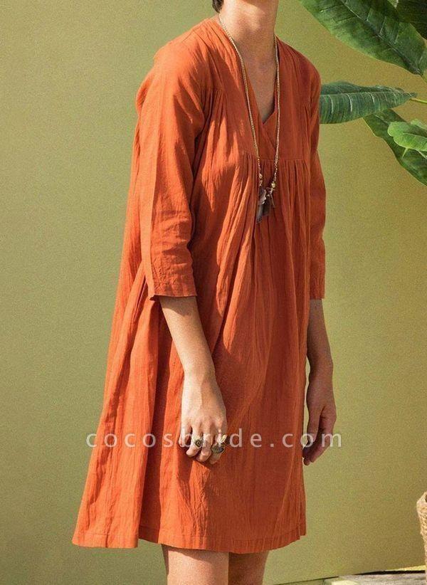 Orange Plus Size Tunic Solid V-Neckline Casual Above Knee Plus Dress